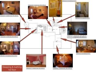 Bad- en slaapkamers 1e verdieping